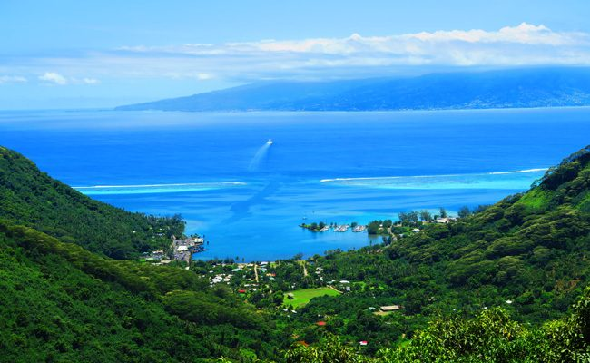 Vaiare to Pao Pao hike Moorea French Polynesia view of ferry