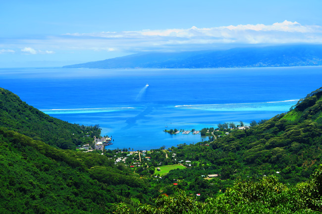 Vaiare to Pao Pao hike Moorea French Polynesia view of ferry