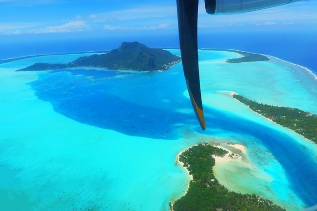 Aerial view of Maupiti French Polynesia from plane