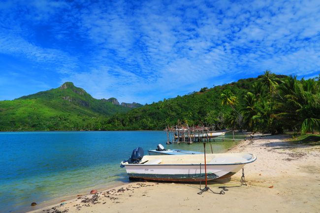 Fishing boats in Maupiti French Polynesia