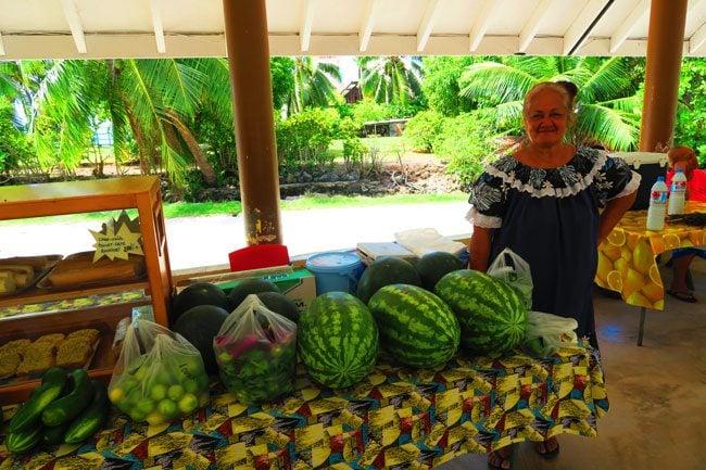 Maupiti market tahitian selling vegetables