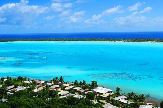 Mount Teurafaatiu boats in Maupiti lagoon French Polynesia