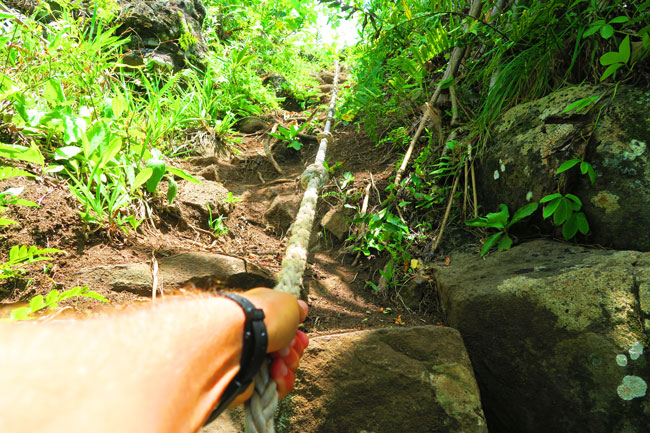 Mount Teurafaatiu climbing with ropes Maupiti french Polynesia