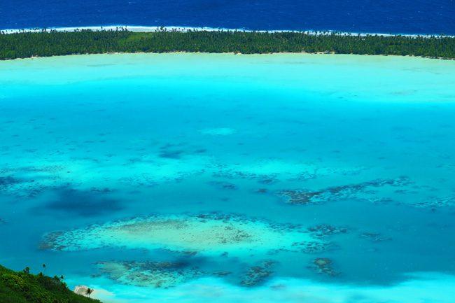 Mount Teurafaatiu view of Maupiti lagoon french polynesia