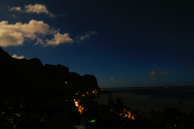 Night sky view of Maupiti French Polynesia at night