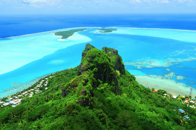 Panoramic view of Maupiti French Polynesia from Mount Teurafaatiu