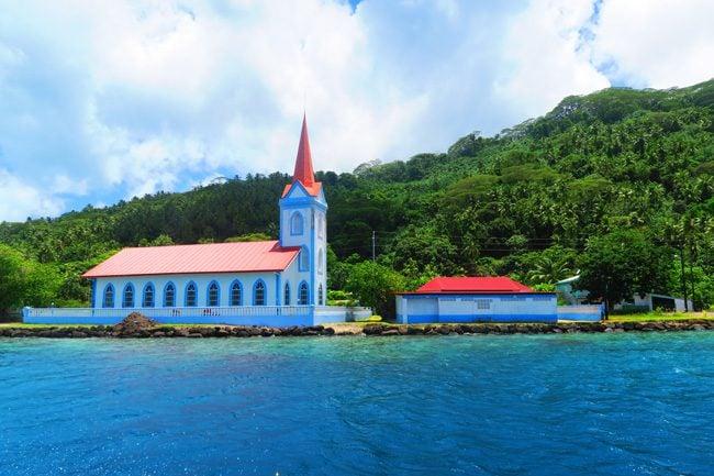 village church tahaa island by boat french polyensia
