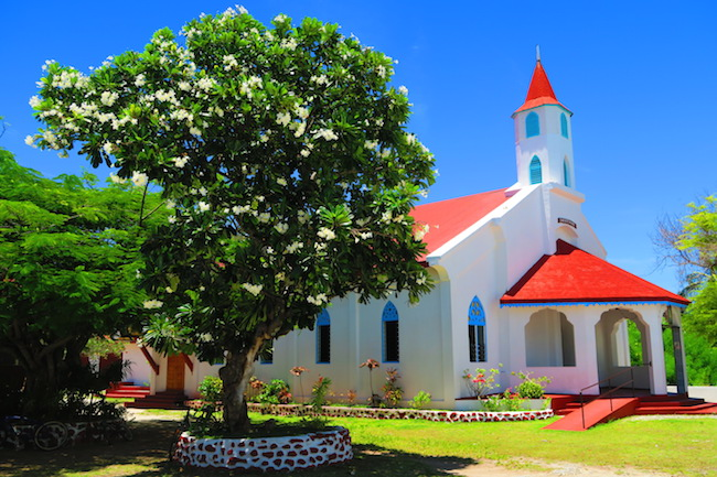 Catholic church Rotoava Village Fakarava Atoll French Polynesia
