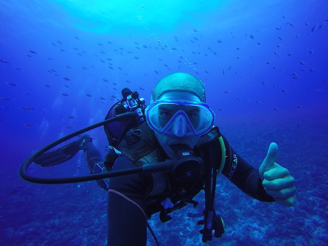 Diving Fakarava Atoll French Polynesia North Pass Garuae Ohotu Cliff selfie