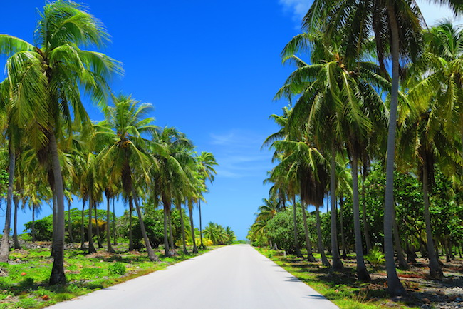 Empty road Fakarava Atoll French Polynesia
