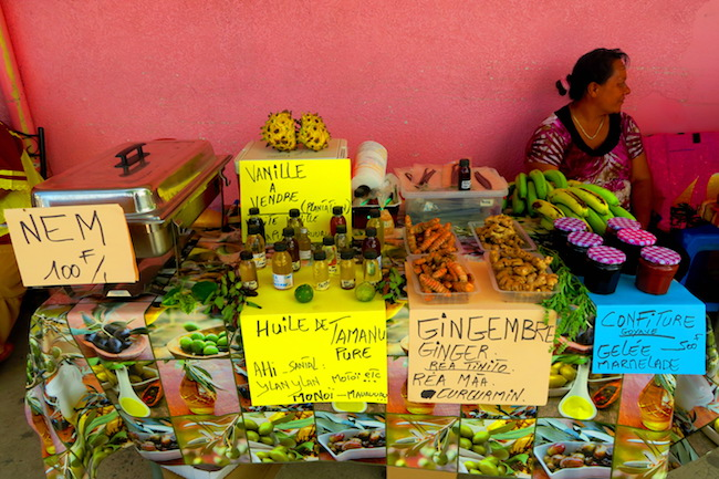Fare Huahine Island French Polynesia local stall