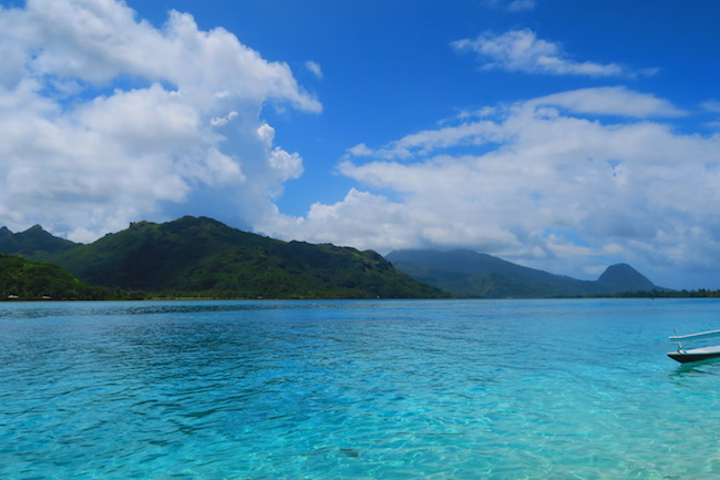 Fare Huahine Island French Polynesia mountains