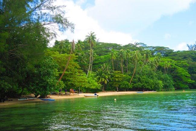 Hana Iti Beach Huahine Island French Polynesia walking