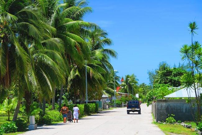 Main street Rotoava village Fakarava Atoll French Polynesia