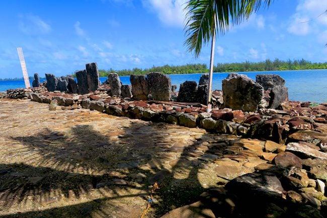 Marae Manunu complex Huahine Island French Polynesia