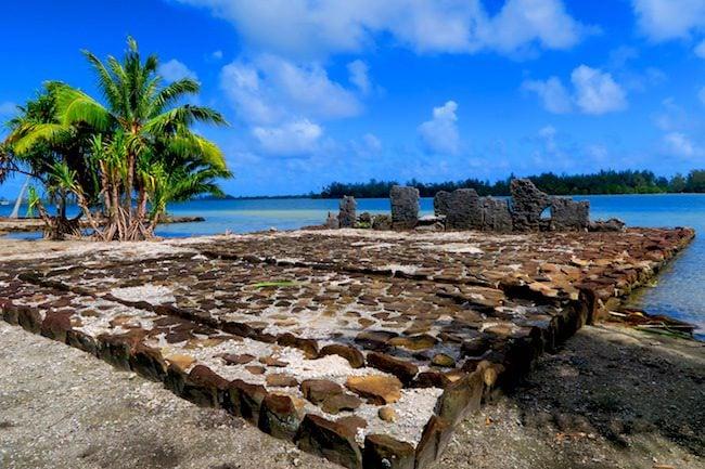 Marae Manunu temple complex Huahine Island French Polynesia