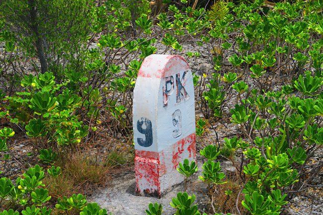 Mile marker PK9 Fakarava Atoll French Polynesia