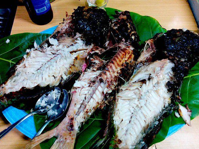 Relais Marama BBQ dinner Fakarava Atoll French Polynesia fish bones