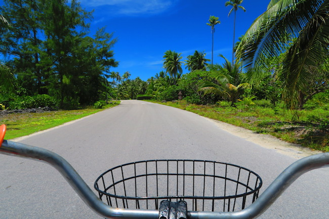 Riding bicycle in Fakarava Atoll French Polynesia