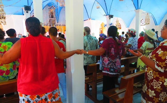 Sunday church service Fakarava Atoll French Polynesia