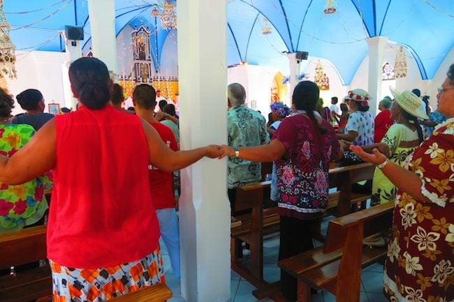 Sunday church service Fakarava Atoll French Polynesia