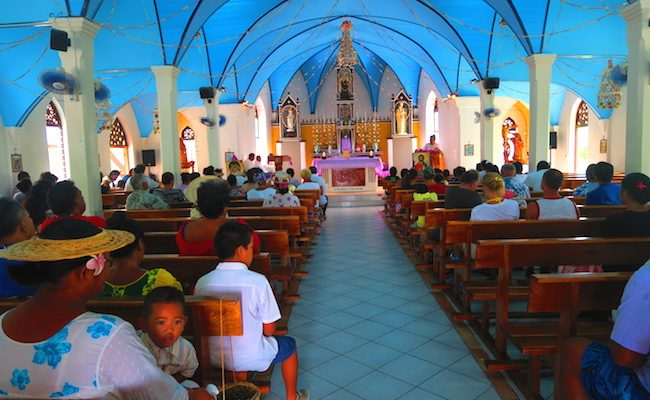 Sunday church service catholic church Fakarava Atoll French Polynesia