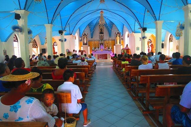 Sunday church service catholic church Fakarava Atoll French Polynesia