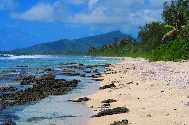 Wild beach Huahine Island French Polynesia Motu Ovarei