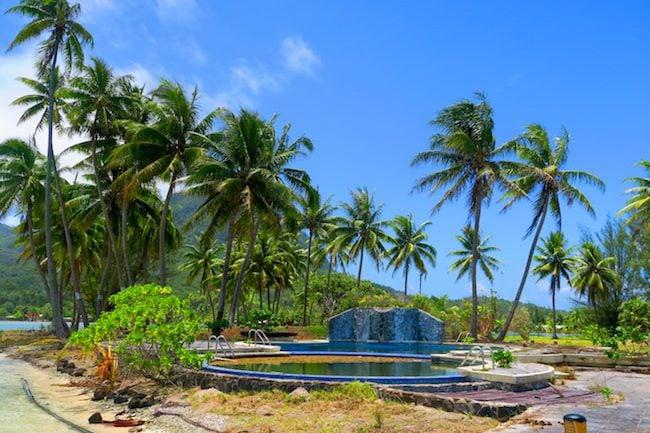 abandoned hotel Huahine Island French Polynesia
