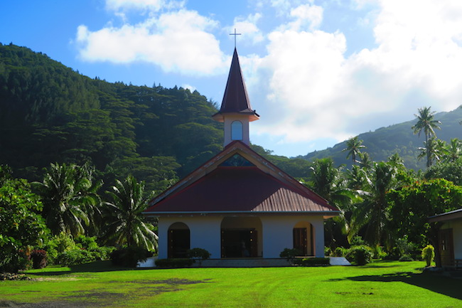 church in Fare Huahine Island French Polynesia