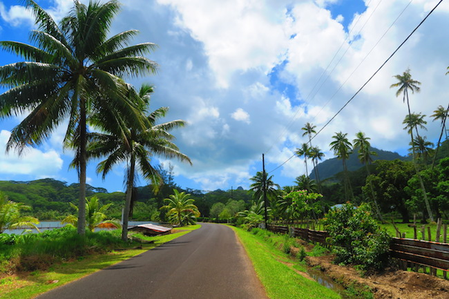 empty road in Huahine Island French Polynesia