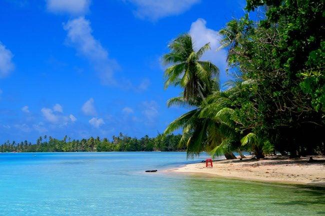 lunch on motu Huahine Island French Polynesia