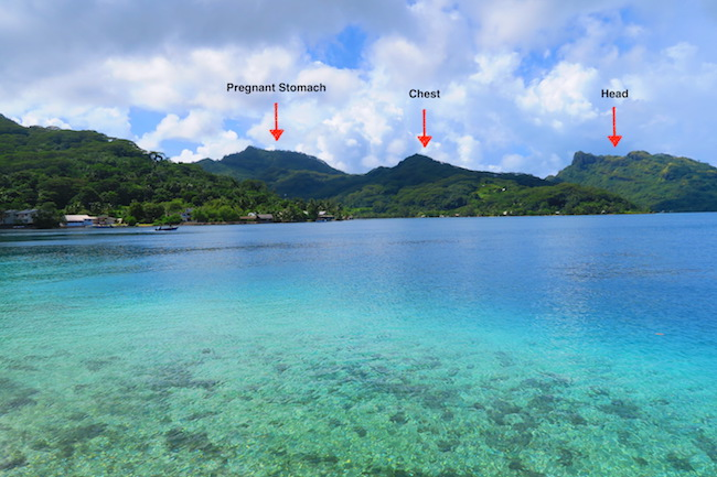 mountains off Fare Huahine Island French Polynesia with explanation