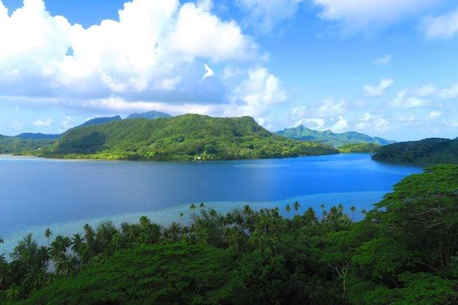 panoramic view from Hana Iti beach lookout Huahine Island French Polynesia