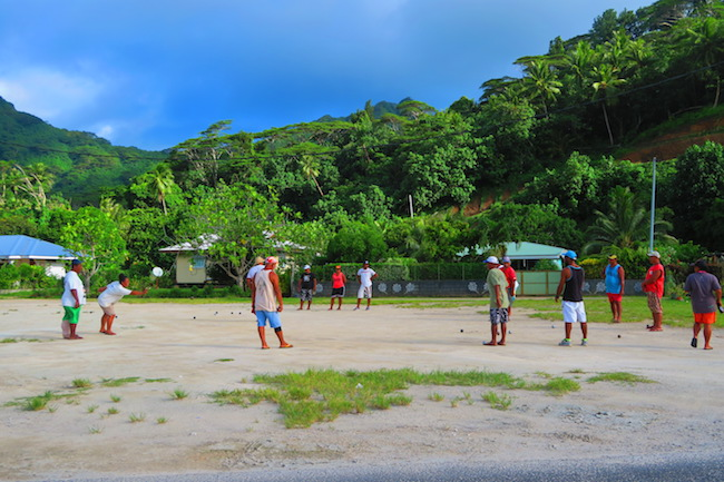 petanque match Huahine Island French Polynesia