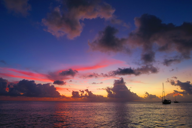 sunset Huahine Island French Polynesia