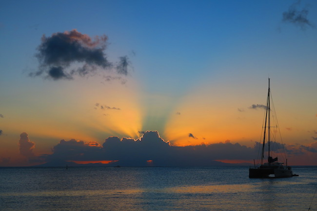 sunset in Fare Huahine Island French Polynesia