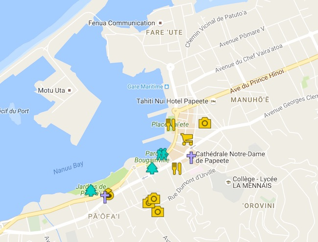 1 Day In Papeete Tahiti Itinerary Map - French Polynesia