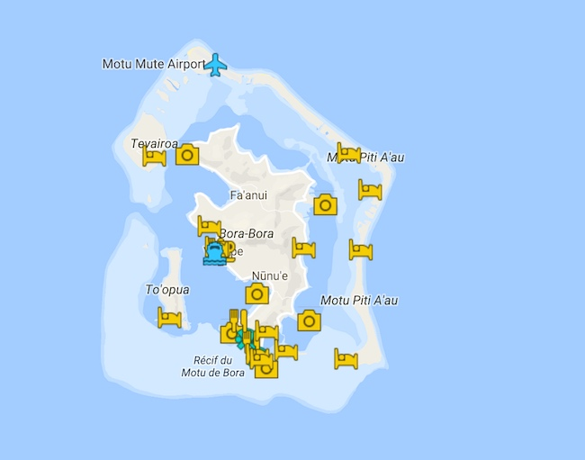 3 Days In Bora Bora Itinerary Map - French Polynesia