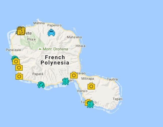 3 Days In Tahiti Island Itinerary Map - French Polynesia