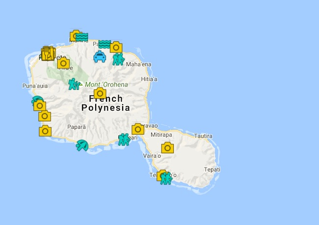 5 Days In Tahiti Island Itinerary Map - French Polynesia