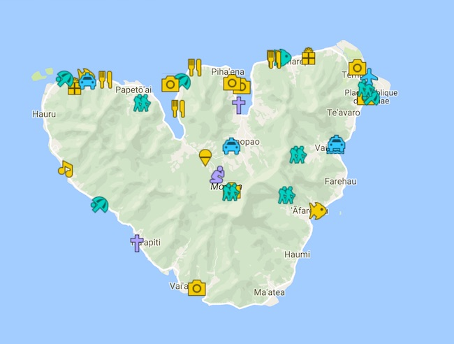7 Days In Moorea Itinerary Map - French Polynesia