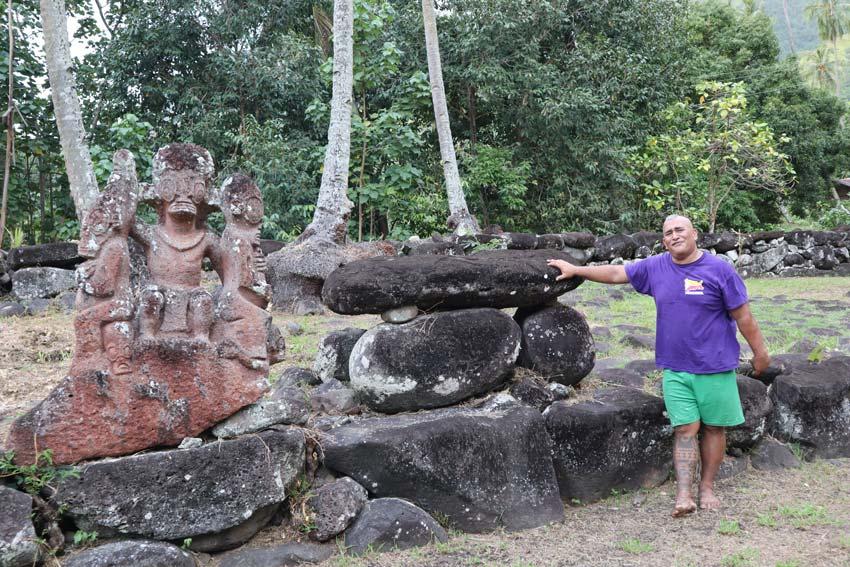 Alvane Alvarado in temple - tour guide - Nuku Hiva Marquesas Islands - French Polynesia