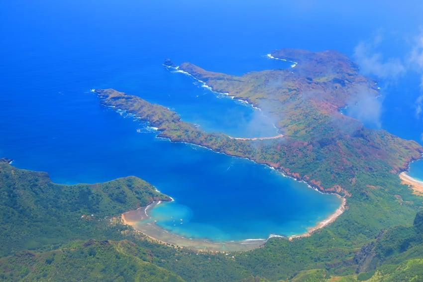 Anaho Bay aerial view Nuku Hiva French Polynesia