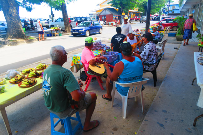 Band playing in Fare - Typical town in Huahine French Polynesia