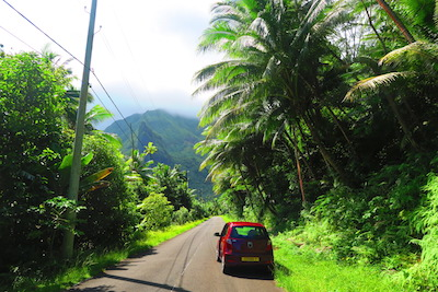Driving in raiatea island french polynesia