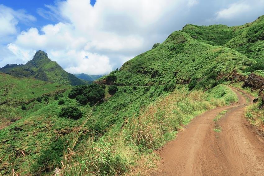 Hiva Oa Marquesas Islands French Polynesia - dirt road to Puamau