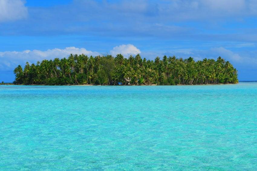 Lagoon motu in Tahaa French Polynesia