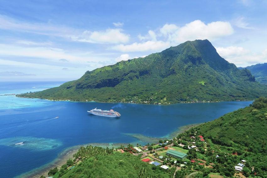 Magic Mountain Moorea French Polynesia - cruise ship in bay