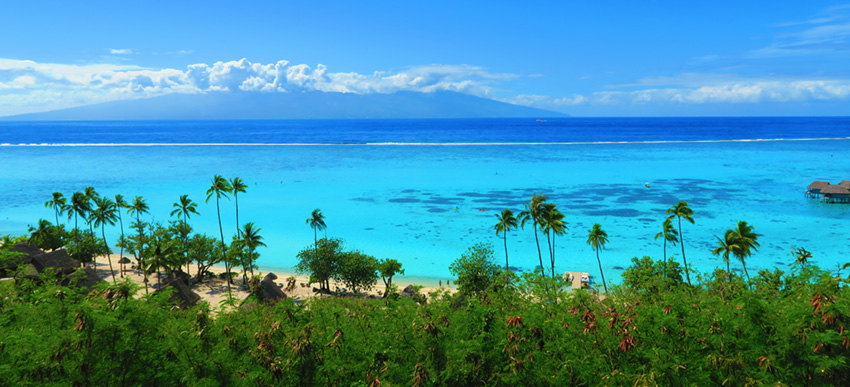 Moorea Panoramic Lagoon View to Tahiti - Temae Beach - French Polynesia